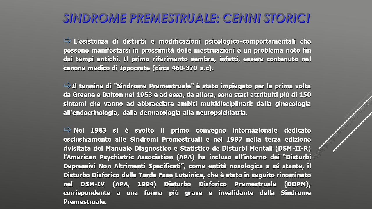Sindrome premestruale: cenni storici