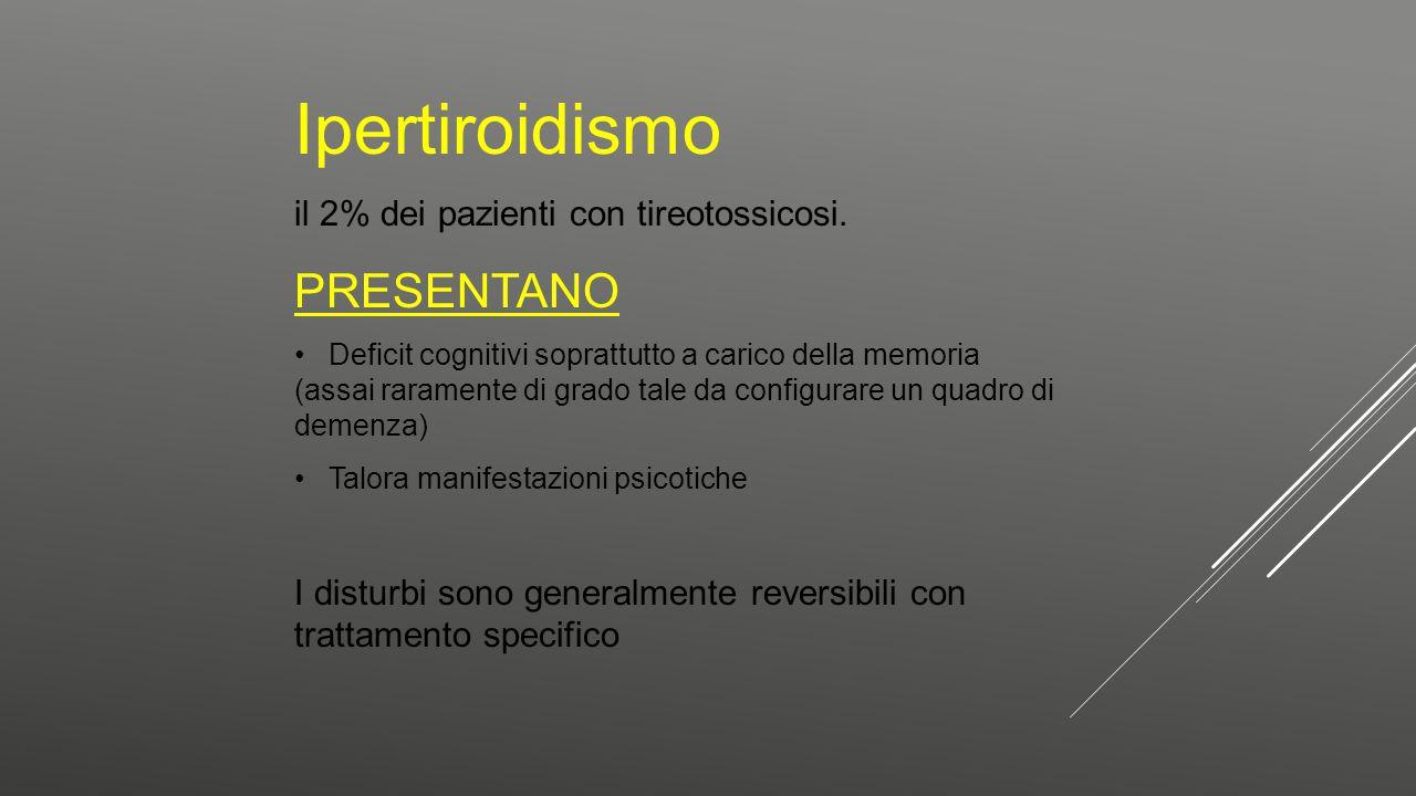 Ipertiroidismo PRESENTANO il 2% dei pazienti con tireotossicosi.