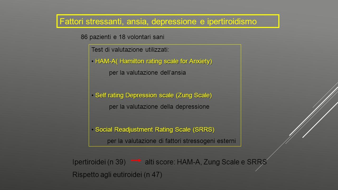 Fattori stressanti, ansia, depressione e ipertiroidismo