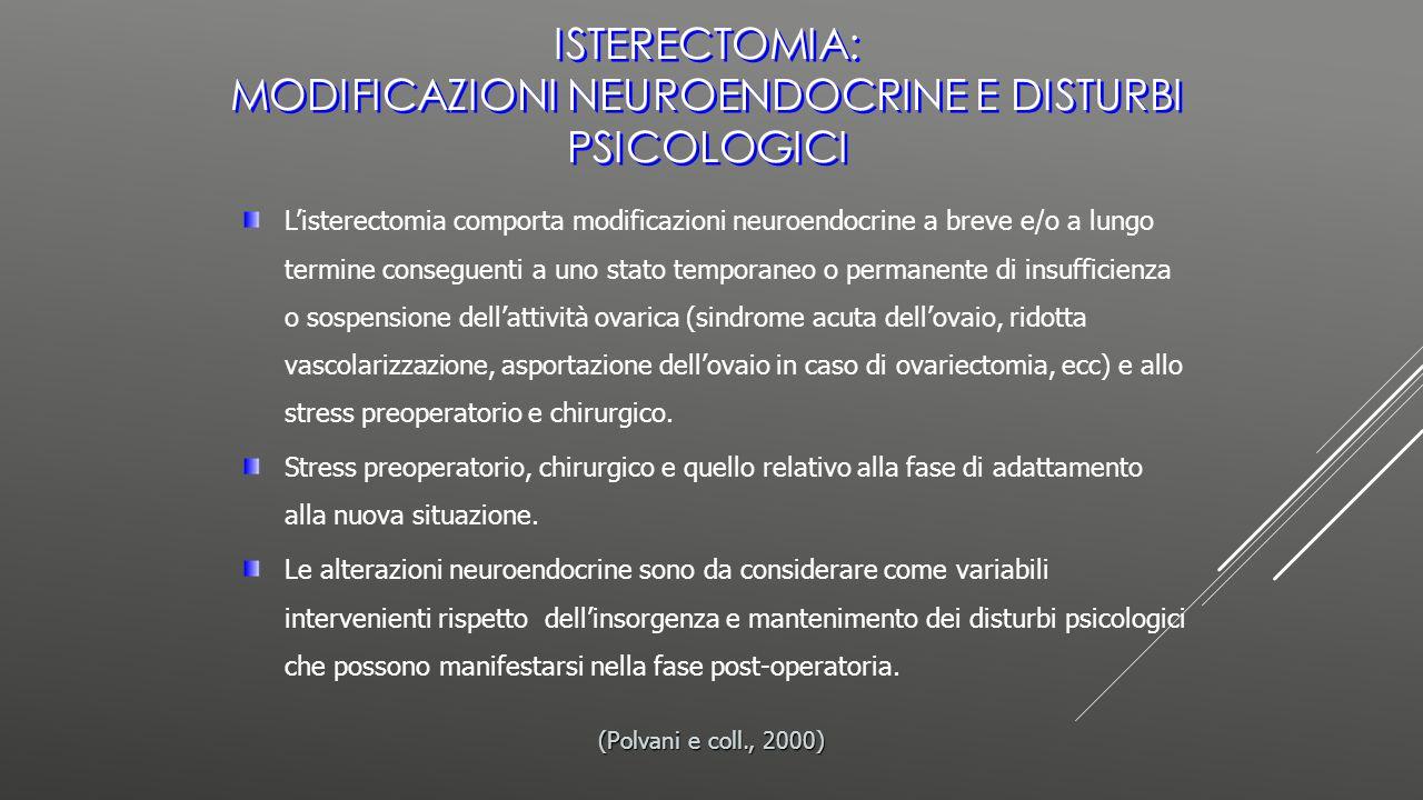 Isterectomia: modificazioni neuroendocrine e disturbi psicologici