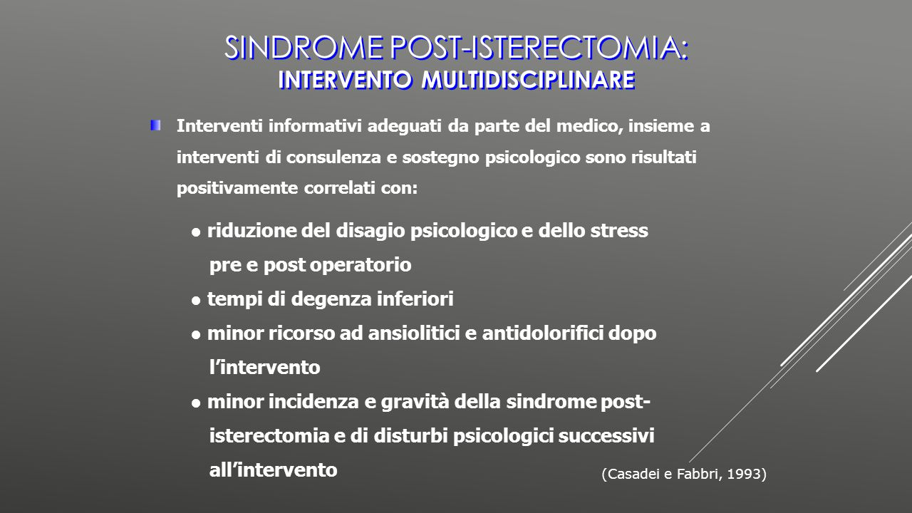 Sindrome post-isterectomia: intervento multidisciplinare
