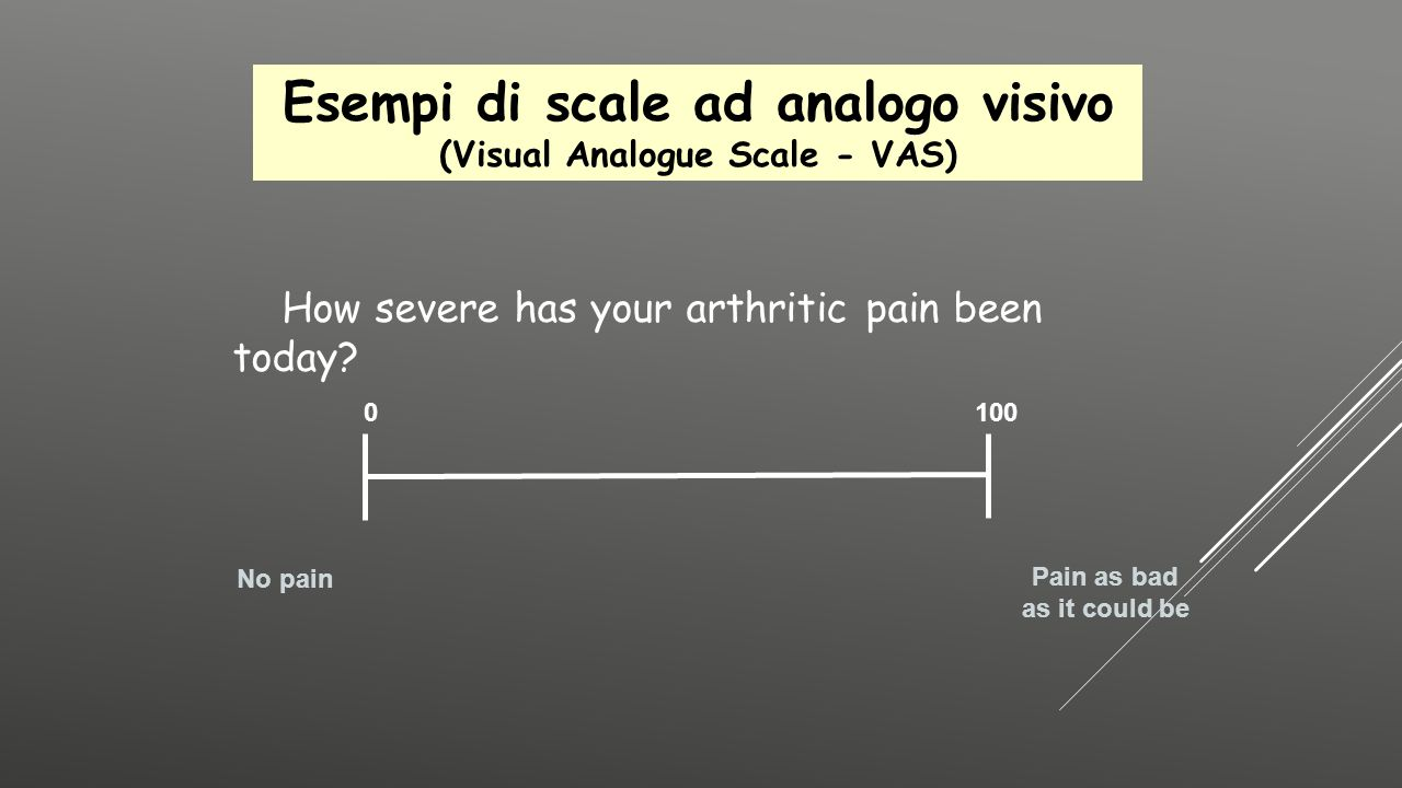 Esempi di scale ad analogo visivo (Visual Analogue Scale - VAS)