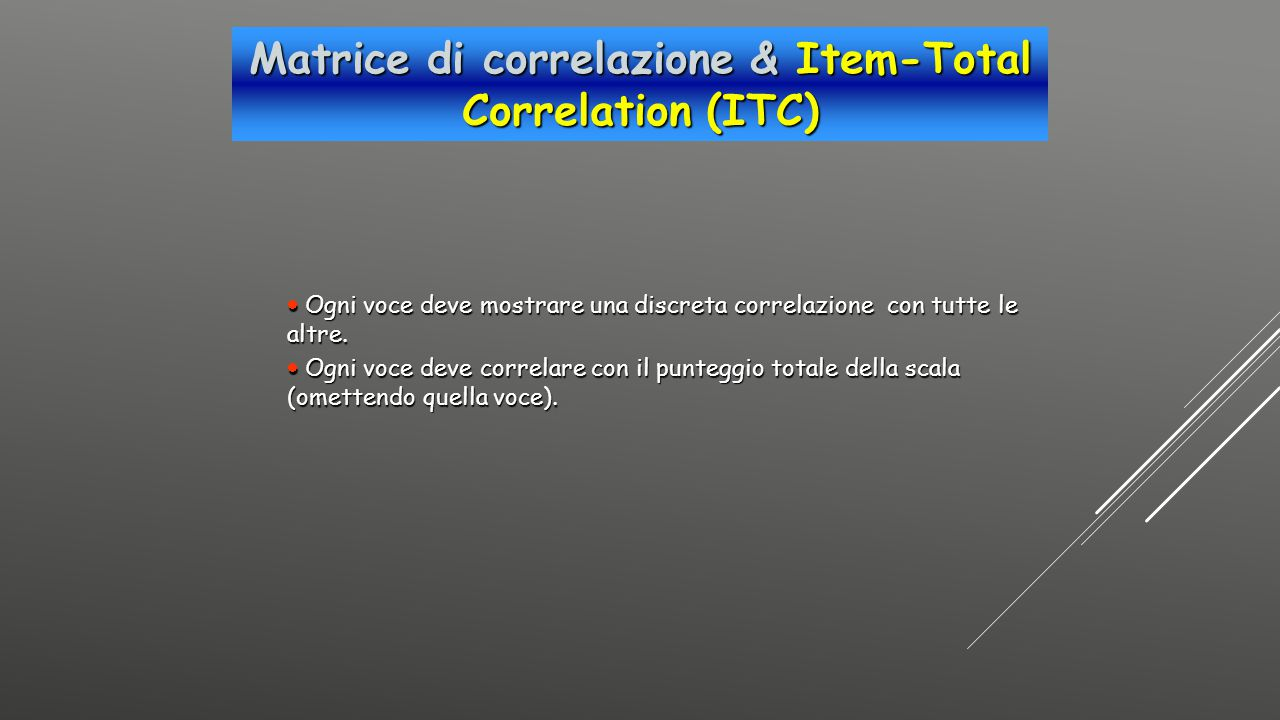 Matrice di correlazione & Item-Total Correlation (ITC)