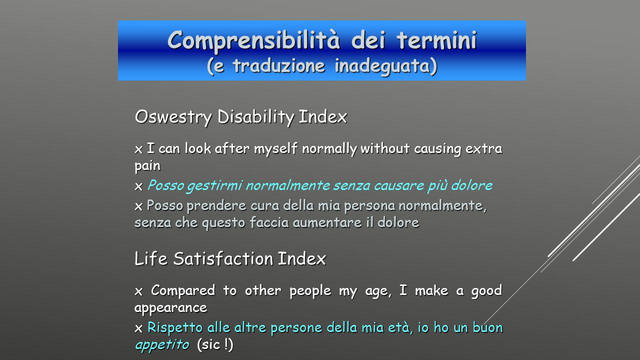 Comprensibilità dei termini (e traduzione inadeguata)
