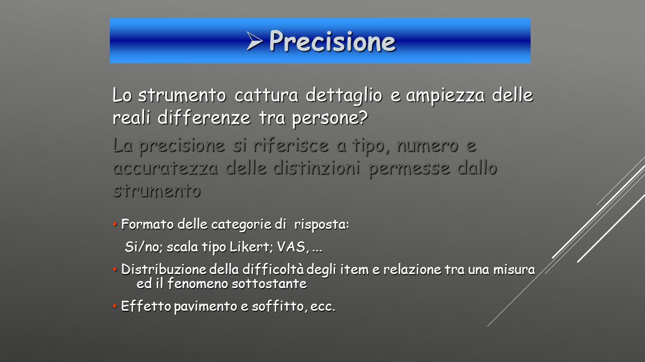 Precisione Lo strumento cattura dettaglio e ampiezza delle reali differenze tra persone