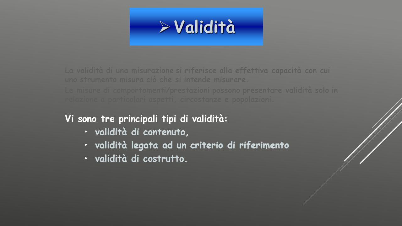 Validità Vi sono tre principali tipi di validità: