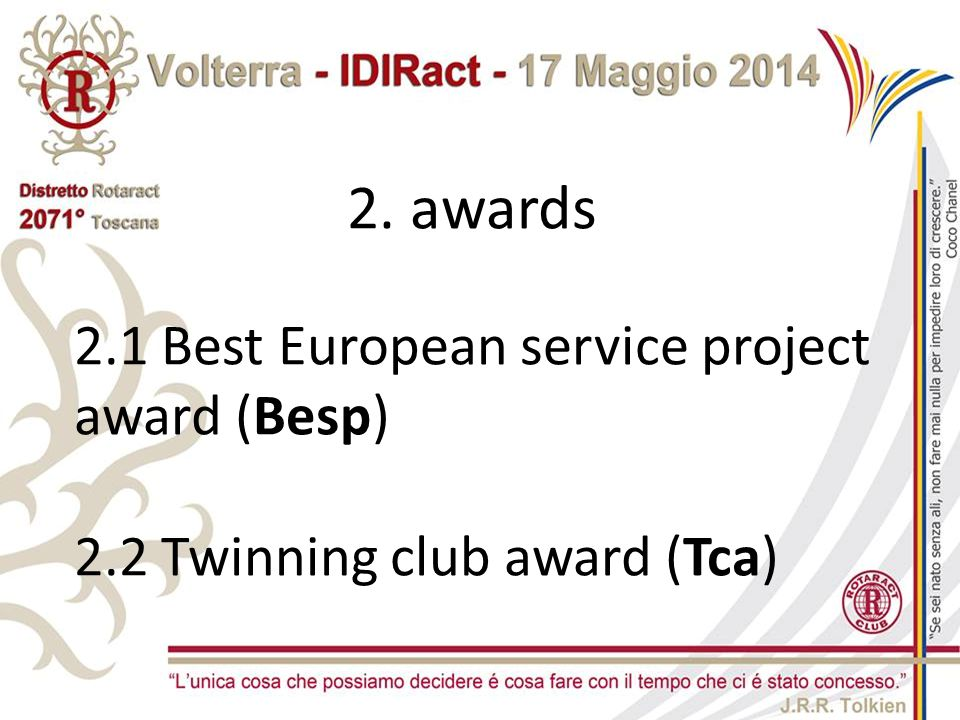 2. awards 2.1 Best European service project award (Besp)