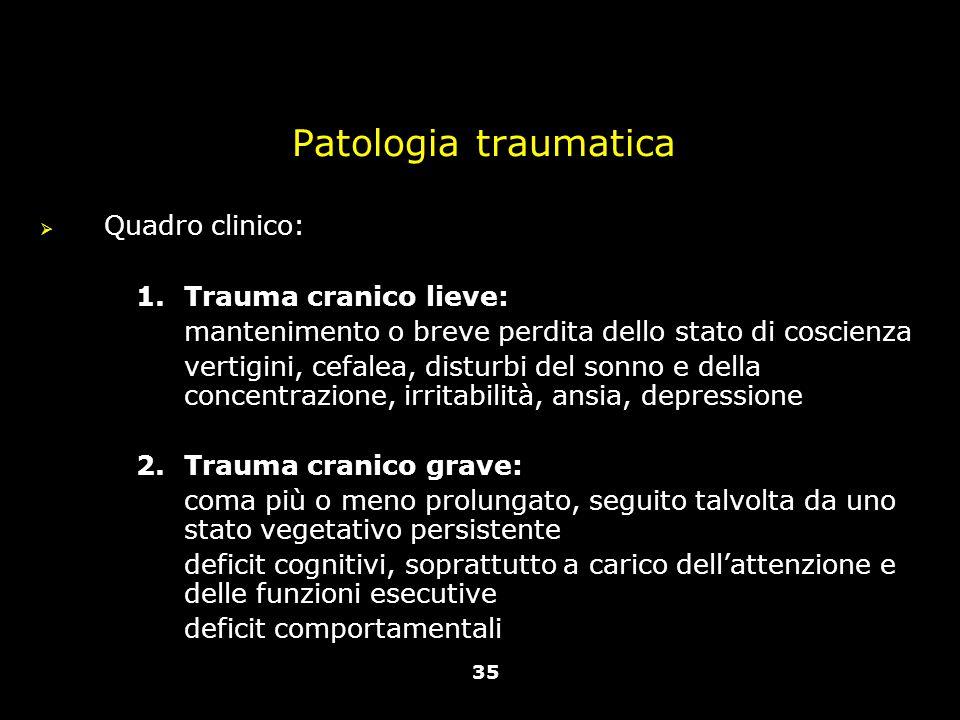 Patologia traumatica Quadro clinico: Trauma cranico lieve: