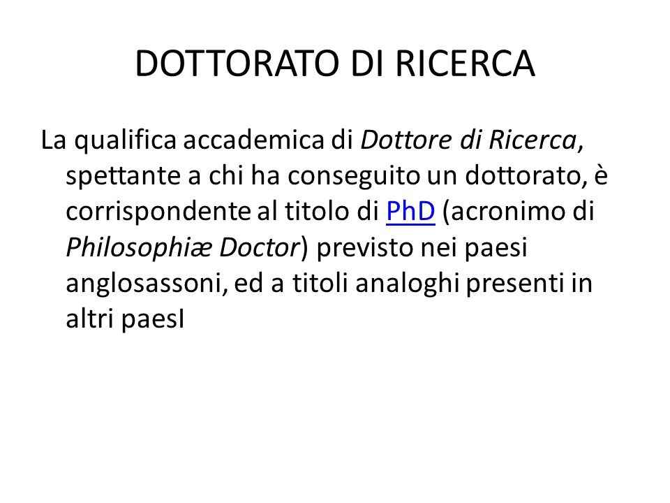 DOTTORATO DI RICERCA