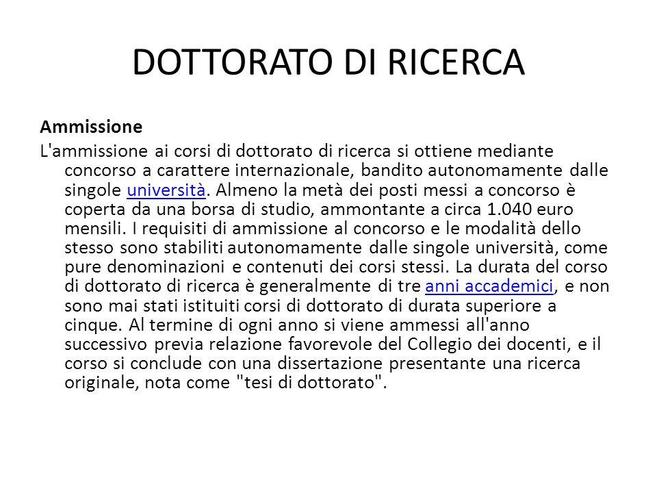 DOTTORATO DI RICERCA Ammissione