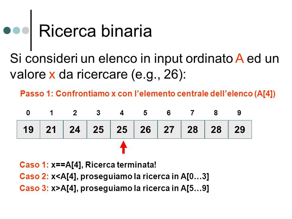 Ricerca binaria Si consideri un elenco in input ordinato A ed un valore x da ricercare (e.g., 26):