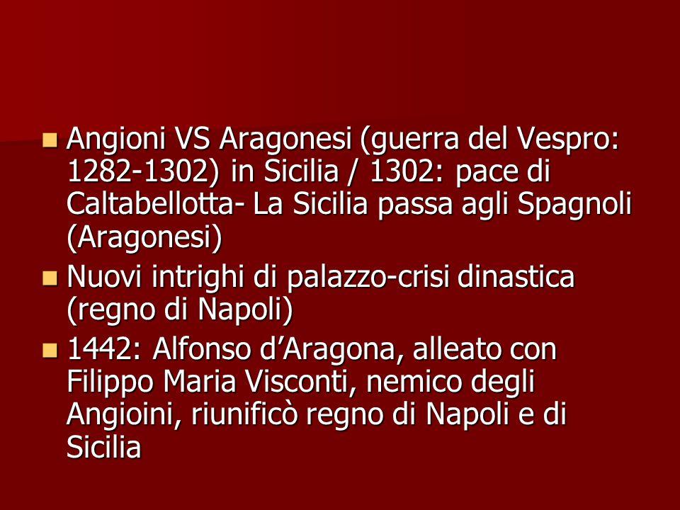 Angioni VS Aragonesi (guerra del Vespro: 1282-1302) in Sicilia / 1302: pace di Caltabellotta- La Sicilia passa agli Spagnoli (Aragonesi)