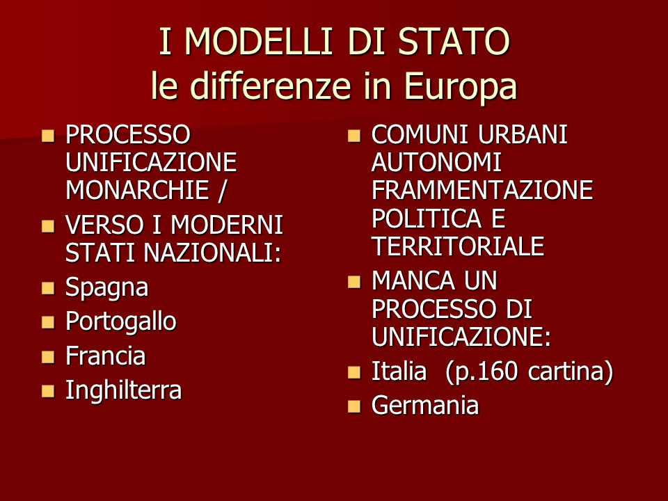 I MODELLI DI STATO le differenze in Europa