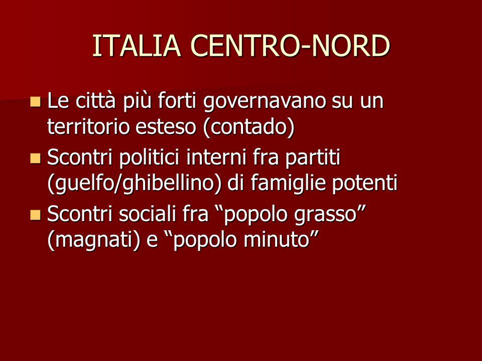 ITALIA CENTRO-NORD Le città più forti governavano su un territorio esteso (contado)