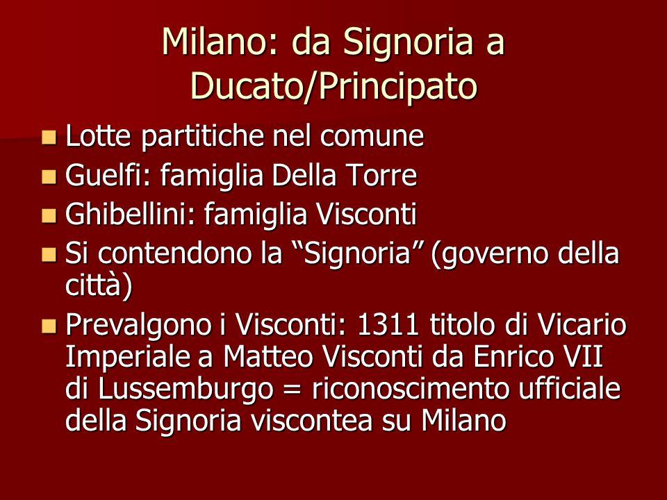 Milano: da Signoria a Ducato/Principato
