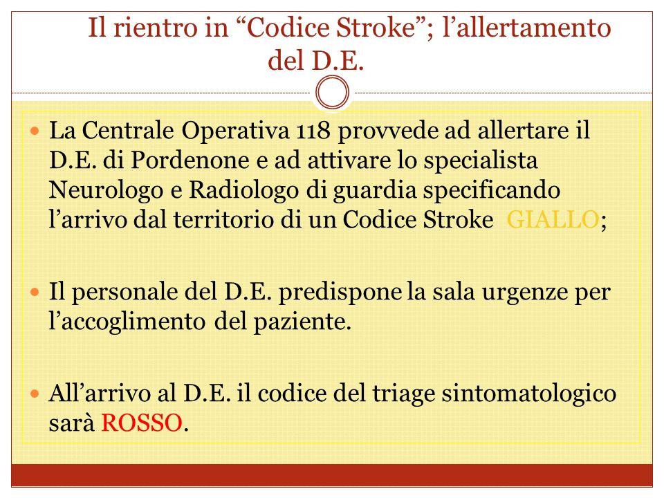 Il rientro in Codice Stroke ; l'allertamento del D.E.