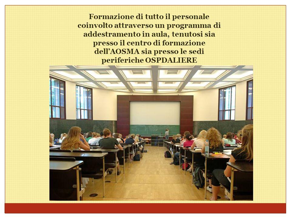 Formazione di tutto il personale coinvolto attraverso un programma di addestramento in aula, tenutosi sia presso il centro di formazione dell'AOSMA sia presso le sedi periferiche OSPDALIERE