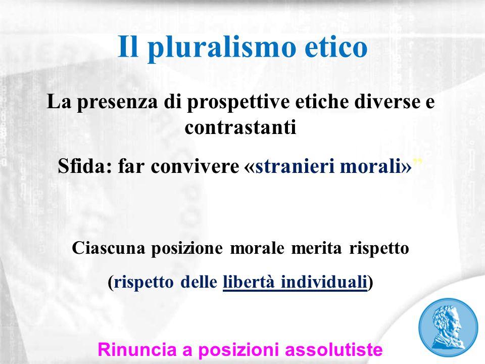 Il pluralismo etico La presenza di prospettive etiche diverse e contrastanti. Sfida: far convivere «stranieri morali»
