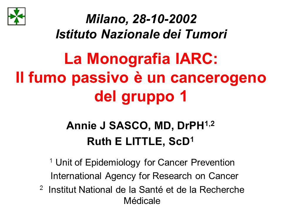 Milano, 28-10-2002 Istituto Nazionale dei Tumori La Monografia IARC: Il fumo passivo è un cancerogeno del gruppo 1