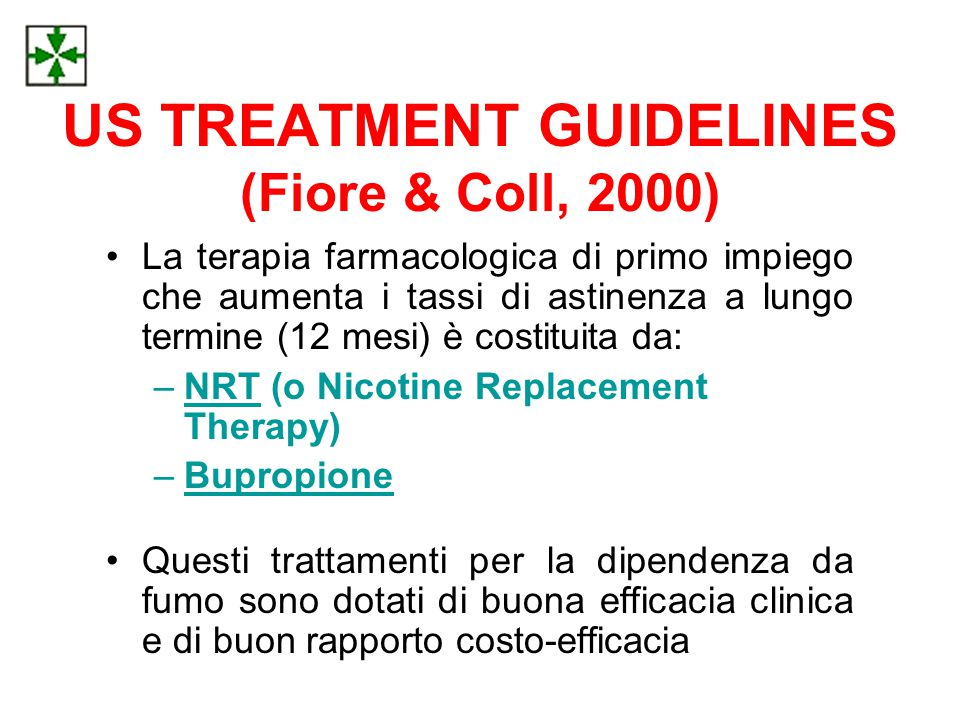 US TREATMENT GUIDELINES (Fiore & Coll, 2000)