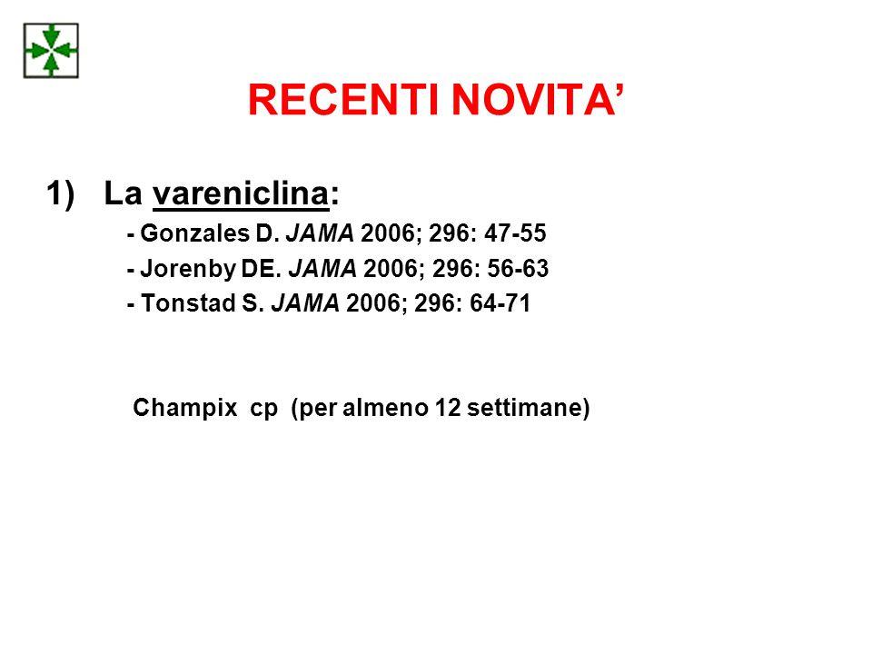 RECENTI NOVITA' La vareniclina: - Gonzales D. JAMA 2006; 296: 47-55
