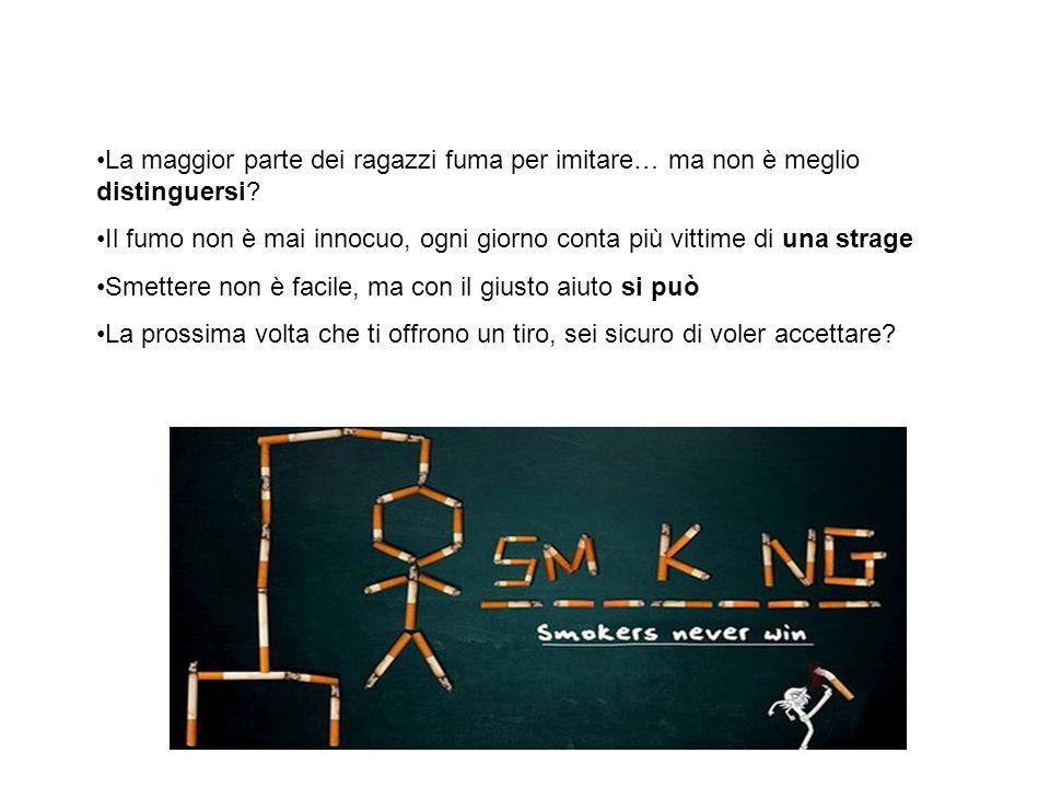 Concludendo … La maggior parte dei ragazzi fuma per imitare… ma non è meglio distinguersi