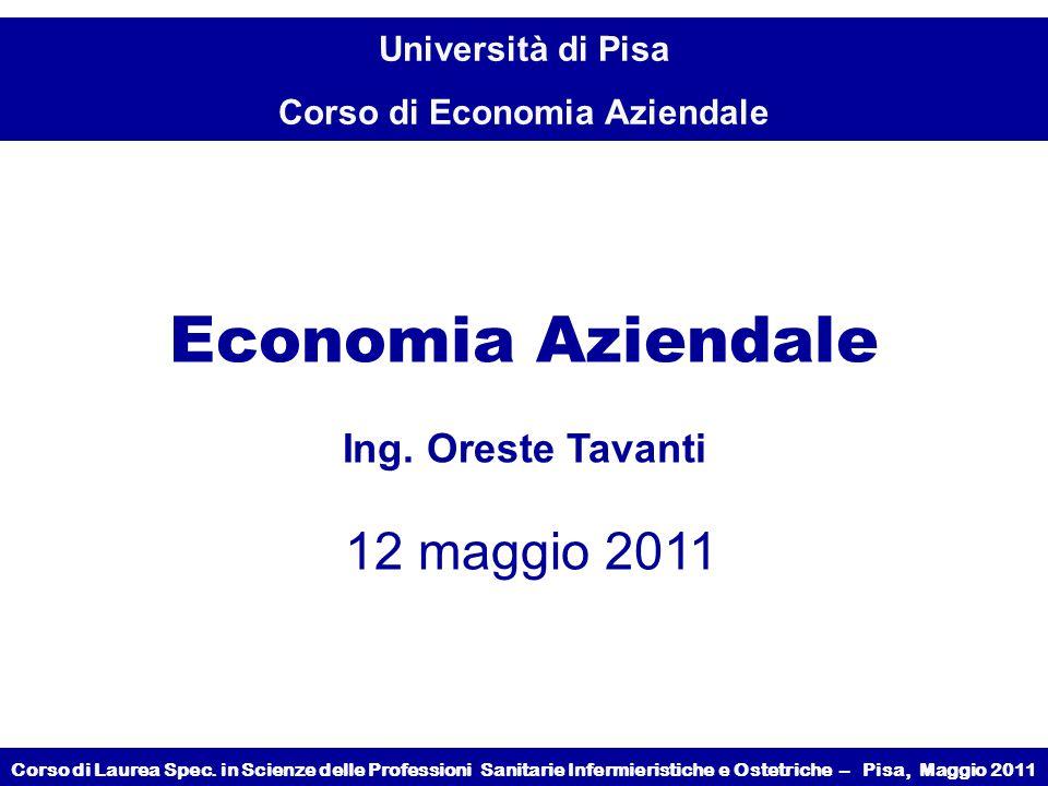 Economia Aziendale Ing. Oreste Tavanti 12 maggio 2011
