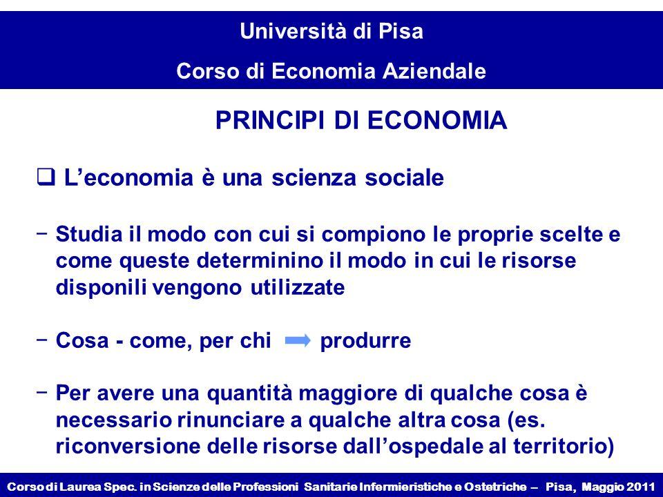 PRINCIPI DI ECONOMIA L'economia è una scienza sociale