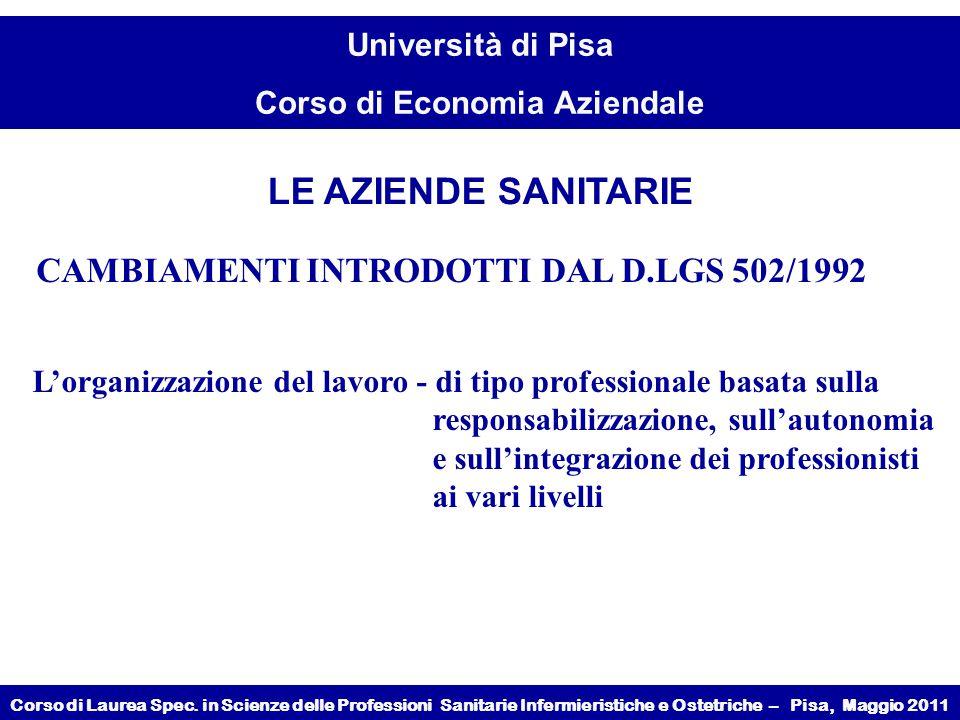 LE AZIENDE SANITARIE CAMBIAMENTI INTRODOTTI DAL D.LGS 502/1992