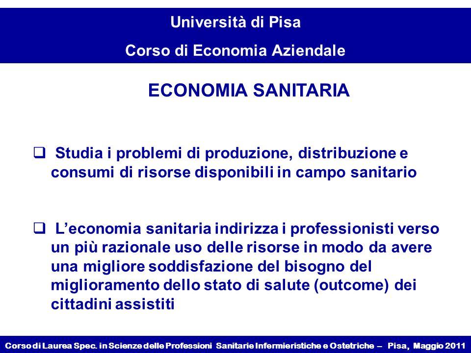 ECONOMIA SANITARIA Studia i problemi di produzione, distribuzione e consumi di risorse disponibili in campo sanitario.