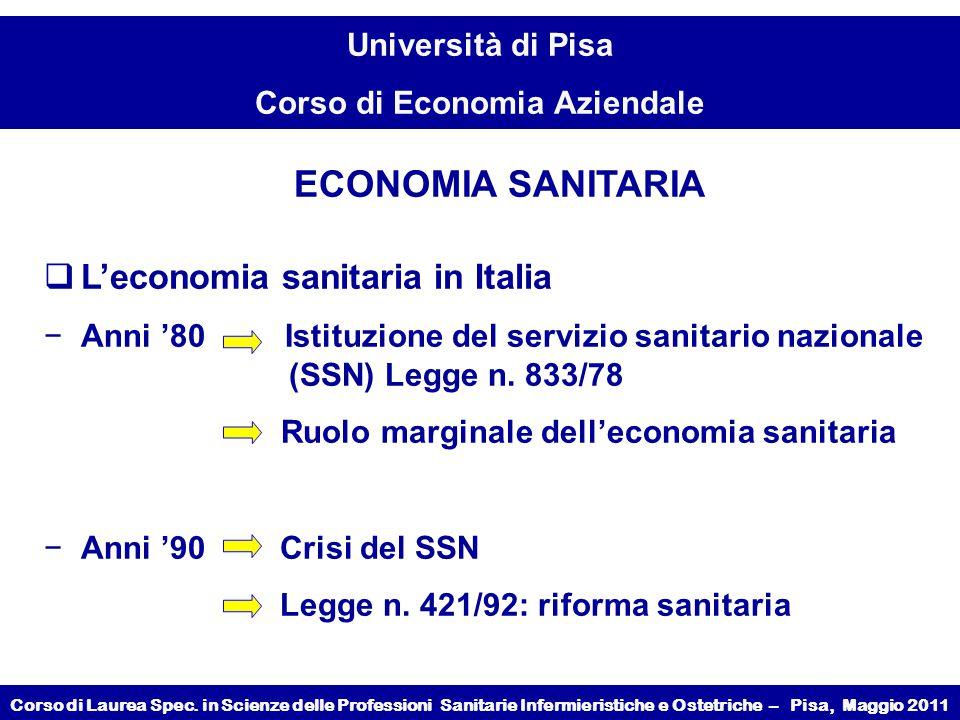 L'economia sanitaria in Italia