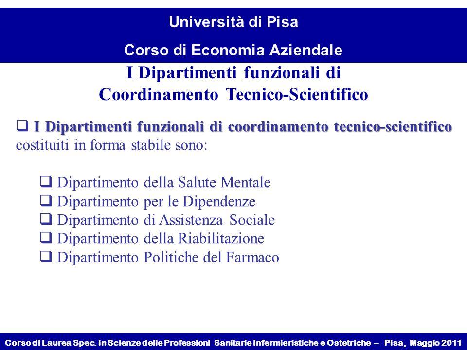 I Dipartimenti funzionali di Coordinamento Tecnico-Scientifico