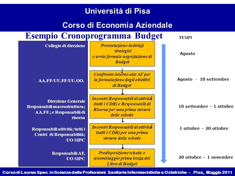 Esempio Cronoprogramma Budget