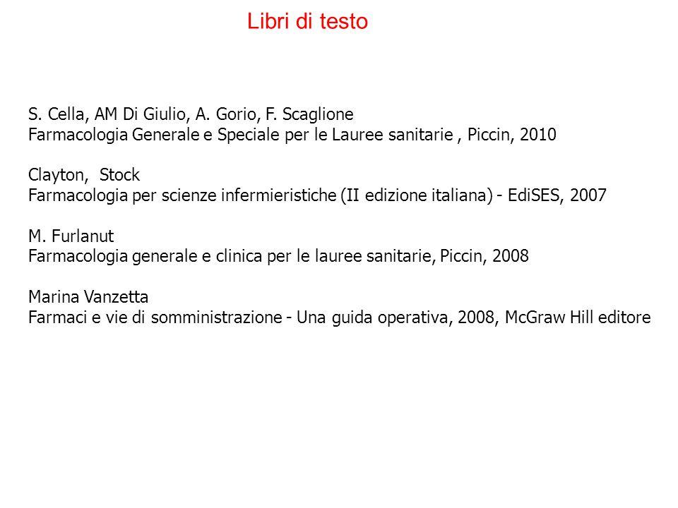 Libri di testo S. Cella, AM Di Giulio, A. Gorio, F. Scaglione