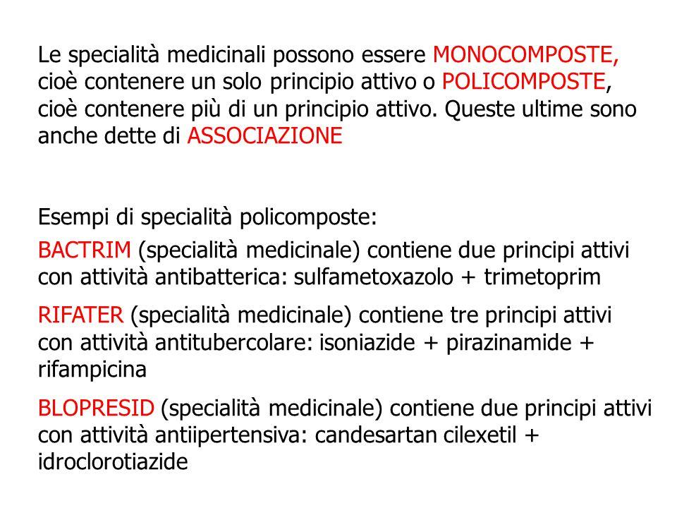 Le specialità medicinali possono essere MONOCOMPOSTE, cioè contenere un solo principio attivo o POLICOMPOSTE, cioè contenere più di un principio attivo. Queste ultime sono anche dette di ASSOCIAZIONE