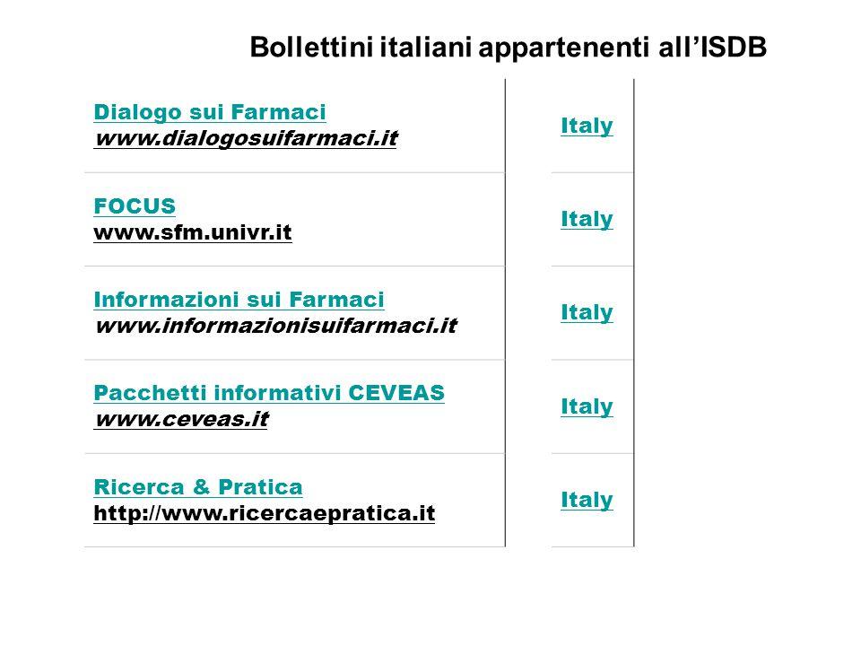 Bollettini italiani appartenenti all'ISDB