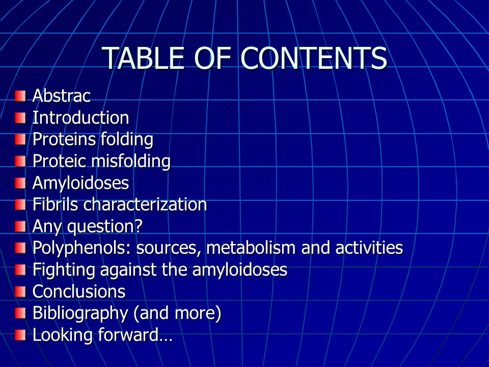 TABLE OF CONTENTS Abstrac Introduction Proteins folding