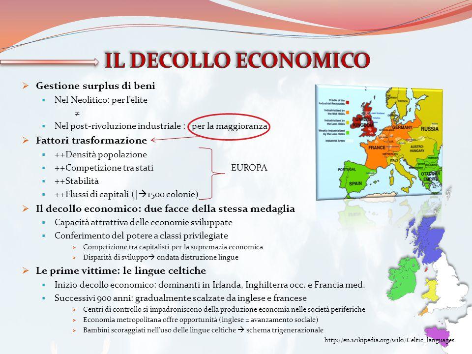 IL DECOLLO ECONOMICO Gestione surplus di beni Fattori trasformazione