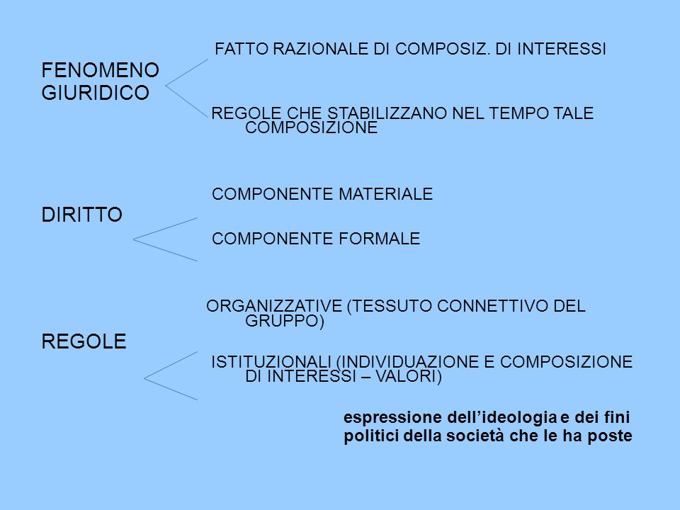 FATTO RAZIONALE DI COMPOSIZ. DI INTERESSI FENOMENO GIURIDICO