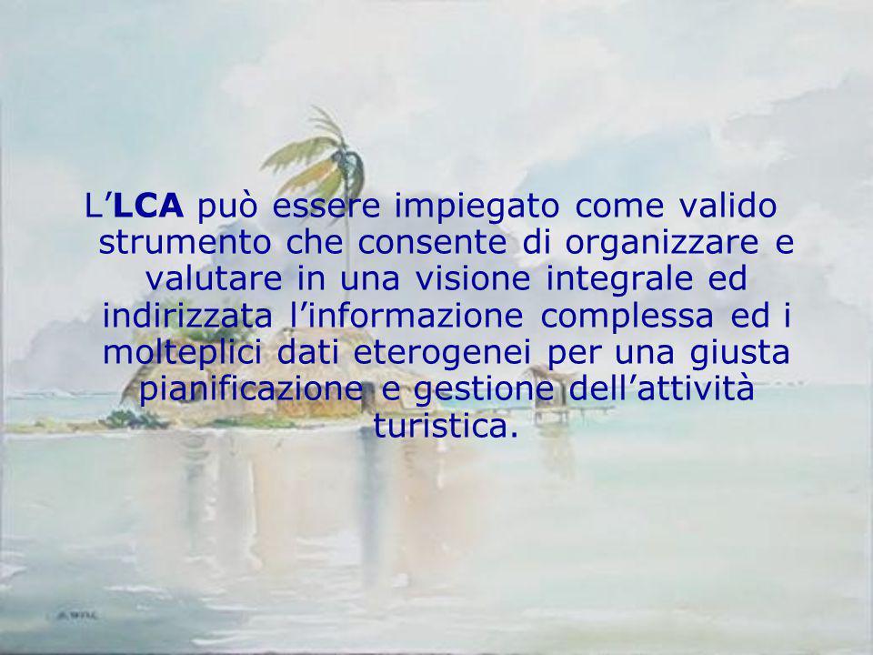 L'LCA può essere impiegato come valido strumento che consente di organizzare e valutare in una visione integrale ed indirizzata l'informazione complessa ed i molteplici dati eterogenei per una giusta pianificazione e gestione dell'attività turistica.