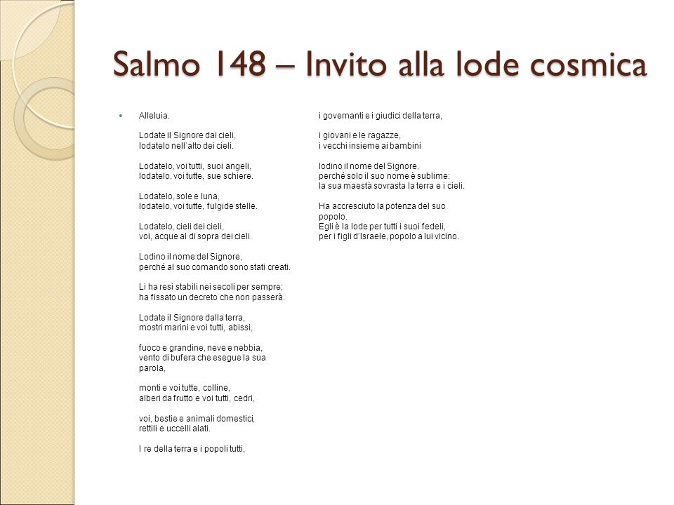 Salmo 148 – Invito alla lode cosmica
