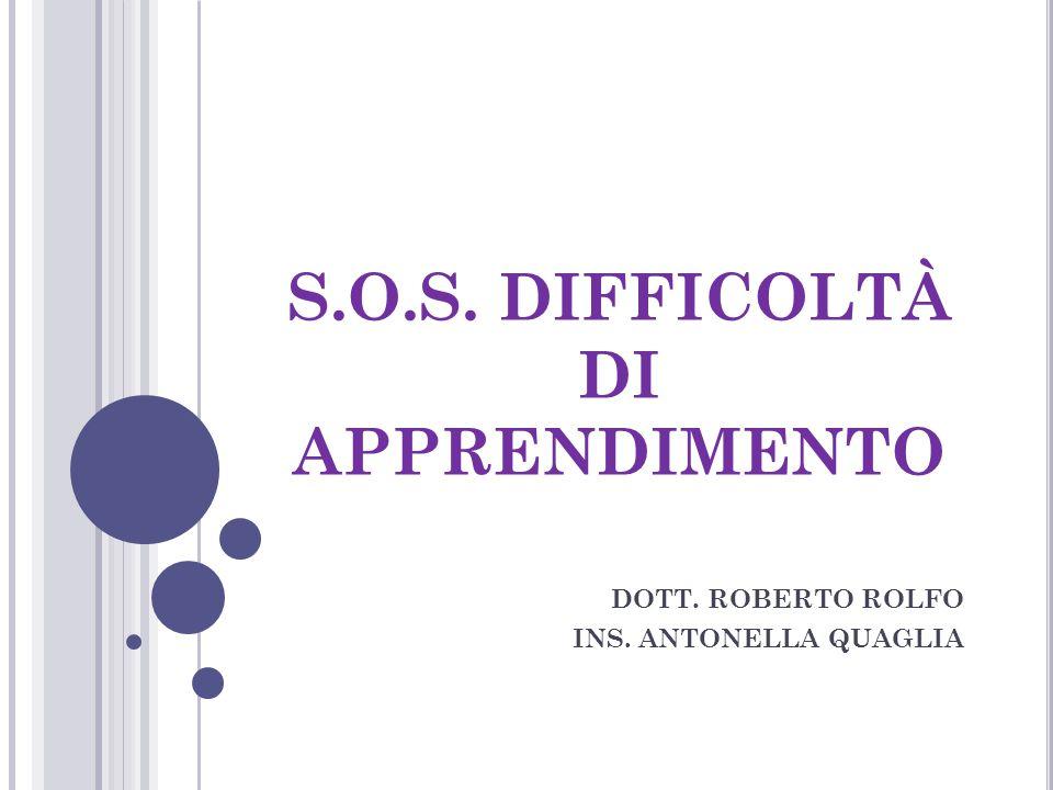 S.O.S. DIFFICOLTÀ DI APPRENDIMENTO