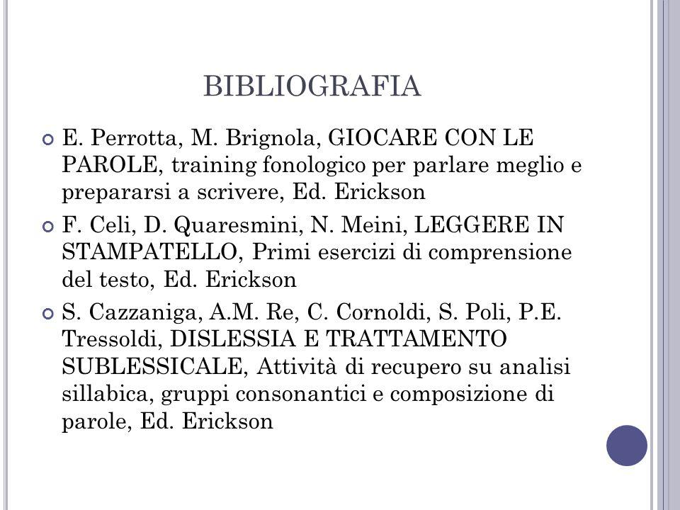 BIBLIOGRAFIA E. Perrotta, M. Brignola, GIOCARE CON LE PAROLE, training fonologico per parlare meglio e prepararsi a scrivere, Ed. Erickson.