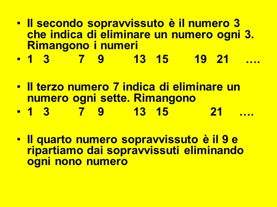 Il secondo sopravvissuto è il numero 3 che indica di eliminare un numero ogni 3. Rimangono i numeri