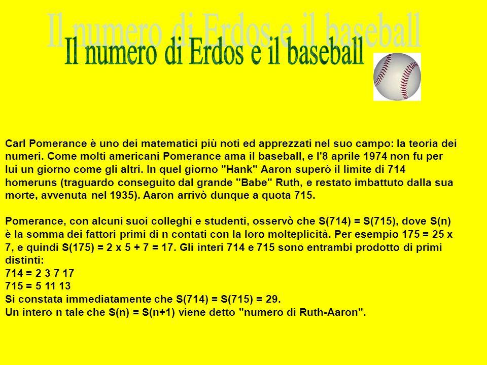 Il numero di Erdos e il baseball