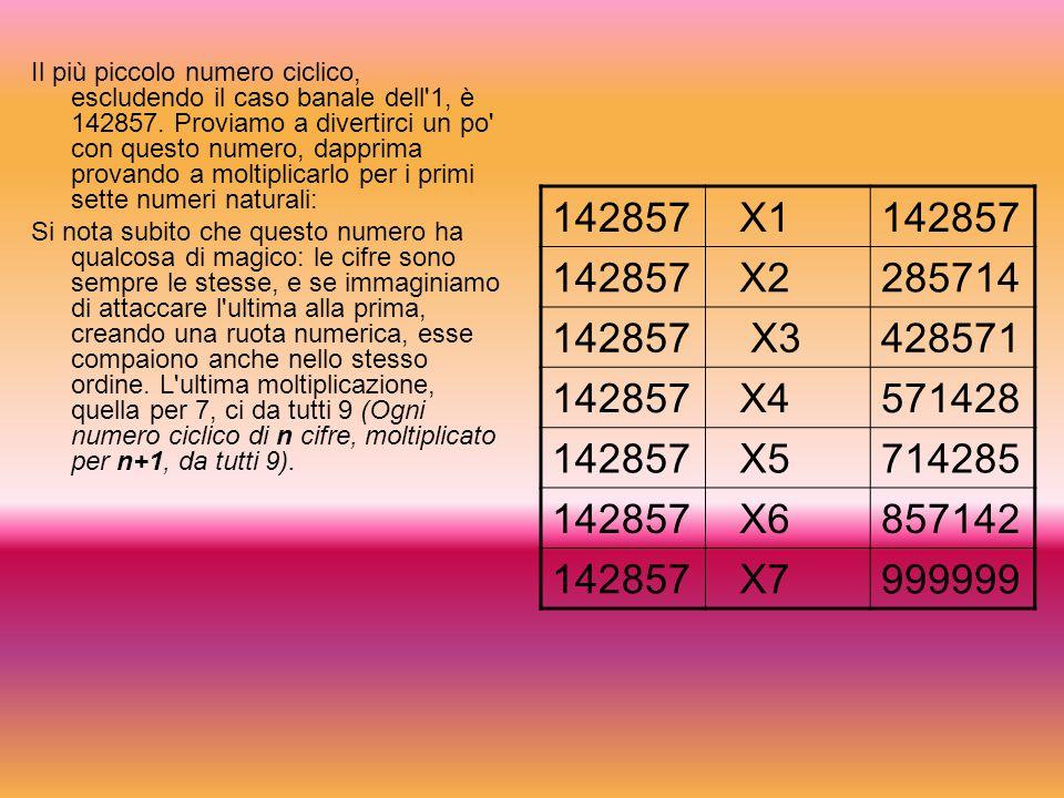 Il più piccolo numero ciclico, escludendo il caso banale dell 1, è 142857. Proviamo a divertirci un po con questo numero, dapprima provando a moltiplicarlo per i primi sette numeri naturali: