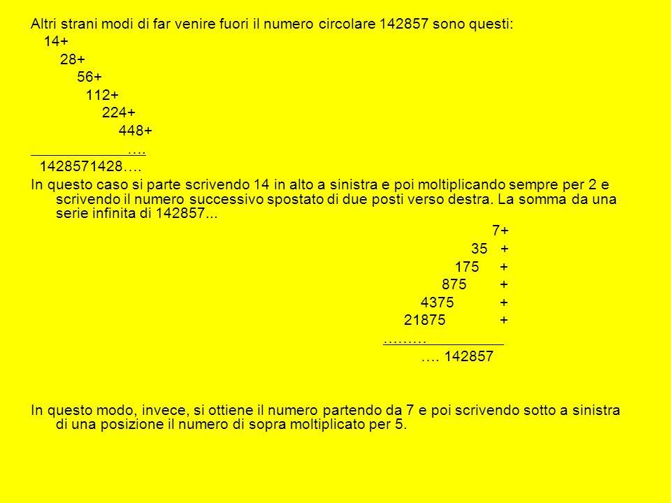 Altri strani modi di far venire fuori il numero circolare 142857 sono questi: