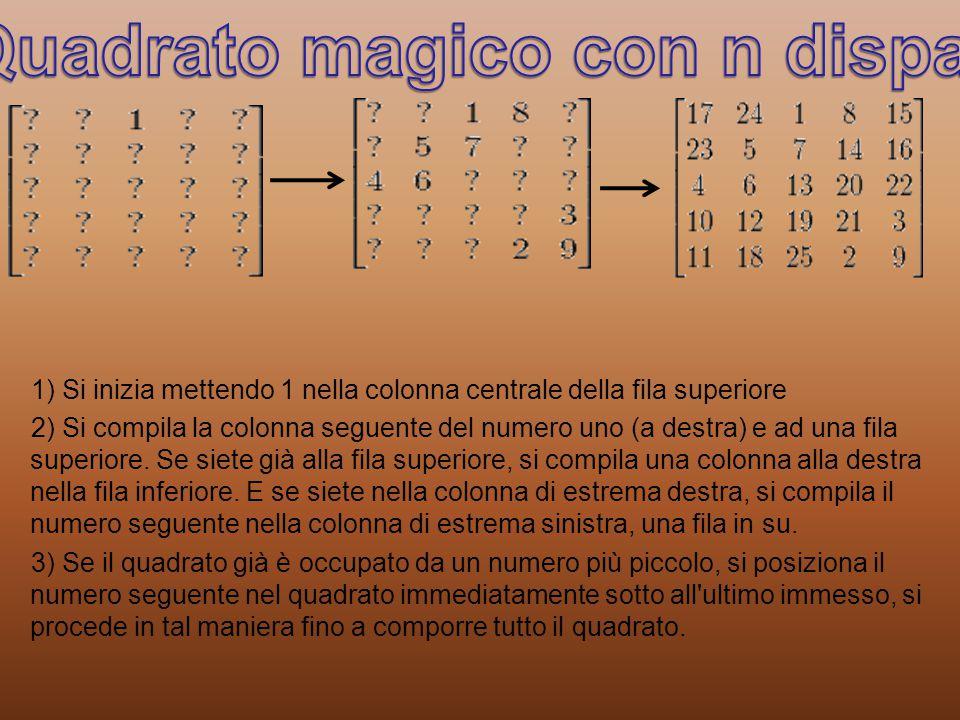 Quadrato magico con n dispari