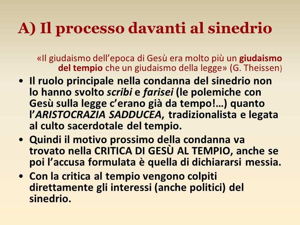 A) Il processo davanti al sinedrio
