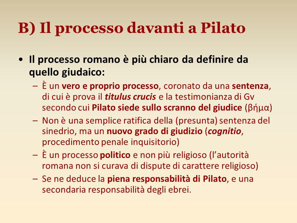 B) Il processo davanti a Pilato